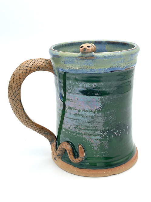 Snake Stein (iridescent green and weathered blue green glazes))