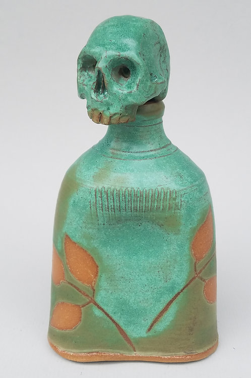 Antique Green Skull Flask