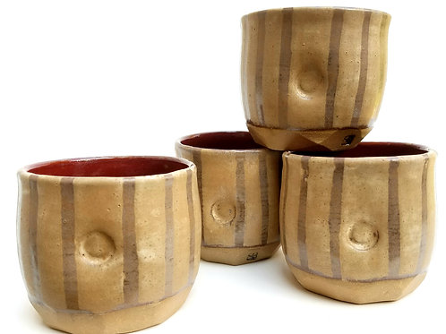 Set of 4 Striped Yunomis