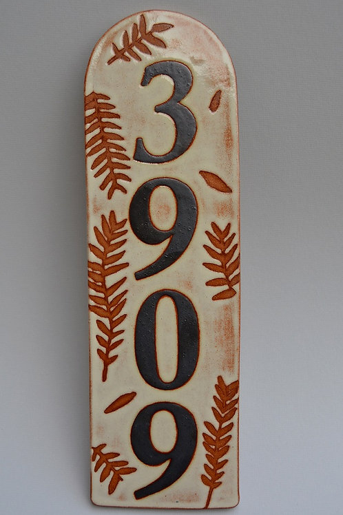House Number with Leaves in Brown and Cream
