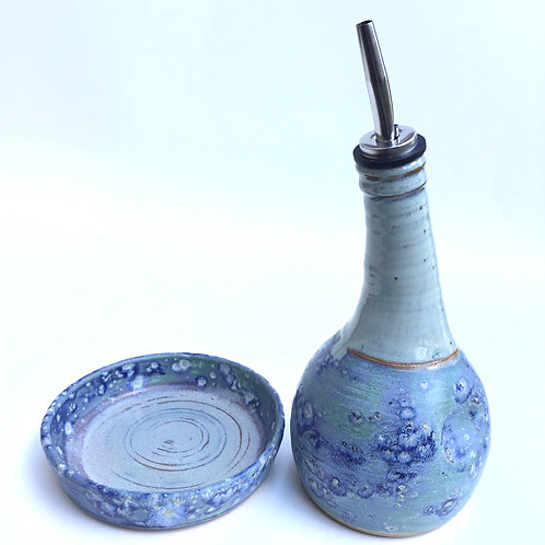 Oil Bottle with Dipping Dish (salty blue)