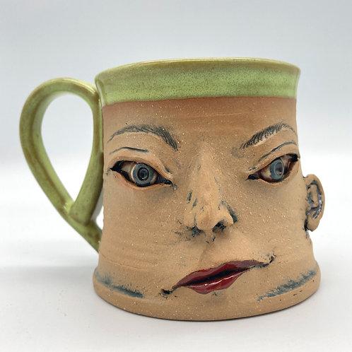 Face Mug ( bright green and thoughtful)