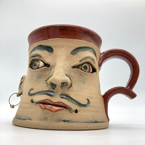 Face Mug (red with mustache)