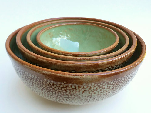 Green and Cream Nesting Bowls