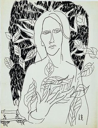 천경자,자화상, pape work,1980년대, 33.5x25.5cm.jpg