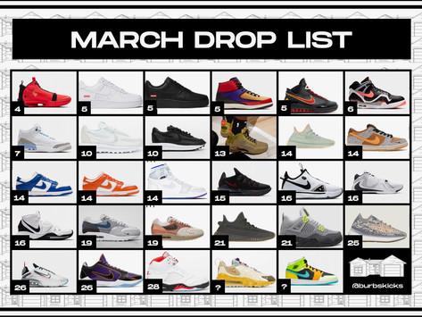 March Sneaker Drop List Calendar