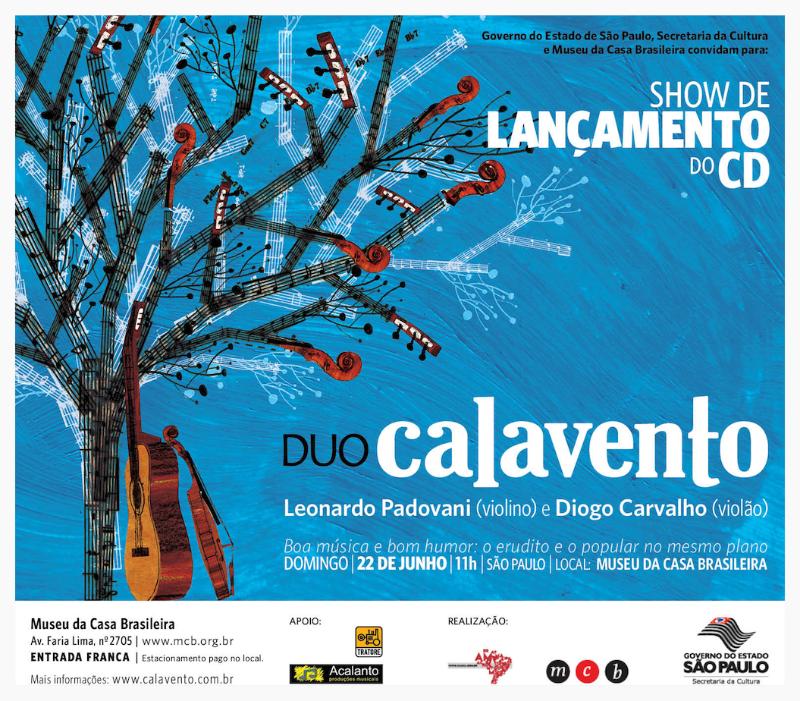 Flyer do show de lançamento do CD Duo Calavento