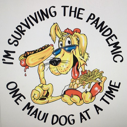 Pandemic T-shirt with all the names of hot dogs on back