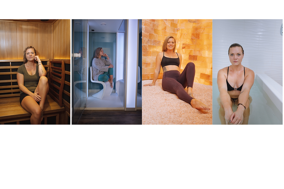 The Total Reset Day Spa block image showing the same blond woman in The Breathing Rooms Infrared Sauna, Private Salt Booth, Himalayan Salt Room and open float pool.
