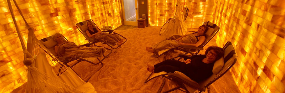 4 Women relaxing in The Breathing Rooms Himalayan Salt Room