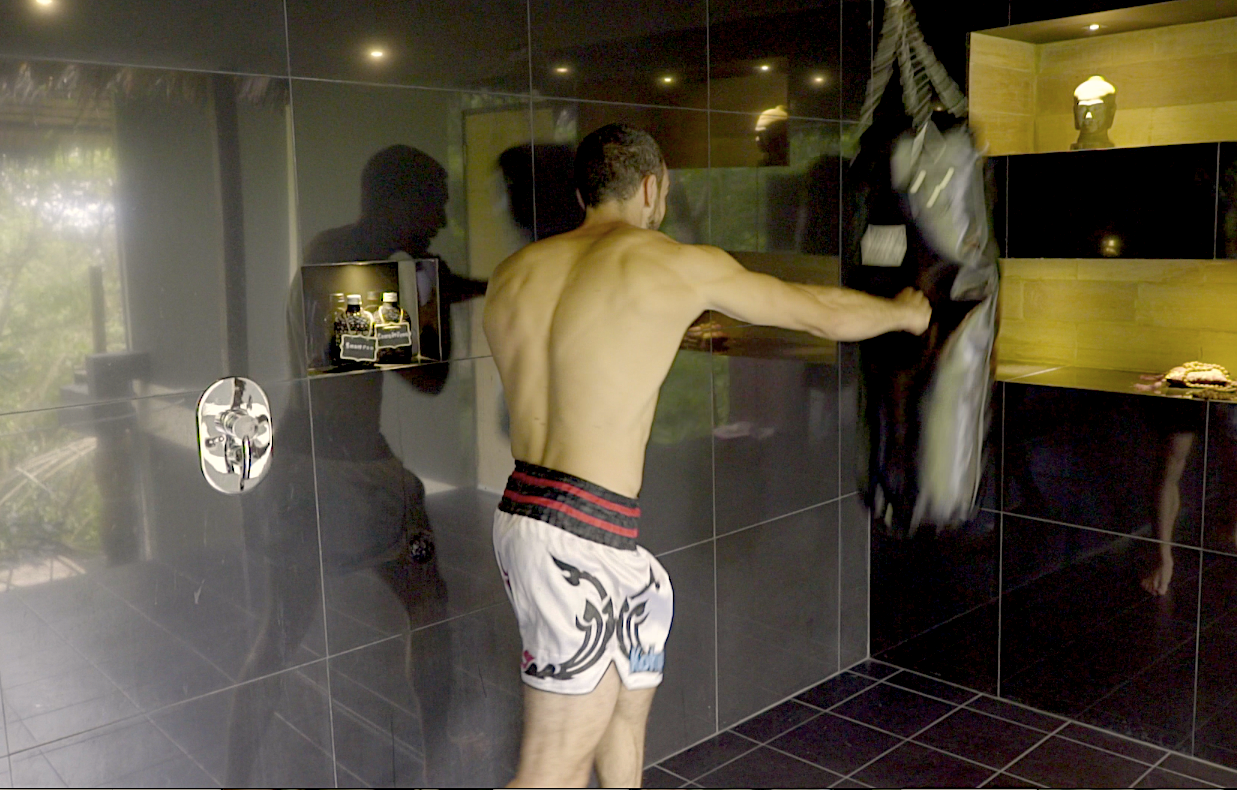 The famous thai boxing bag of the Hedonist Villa's bathroom