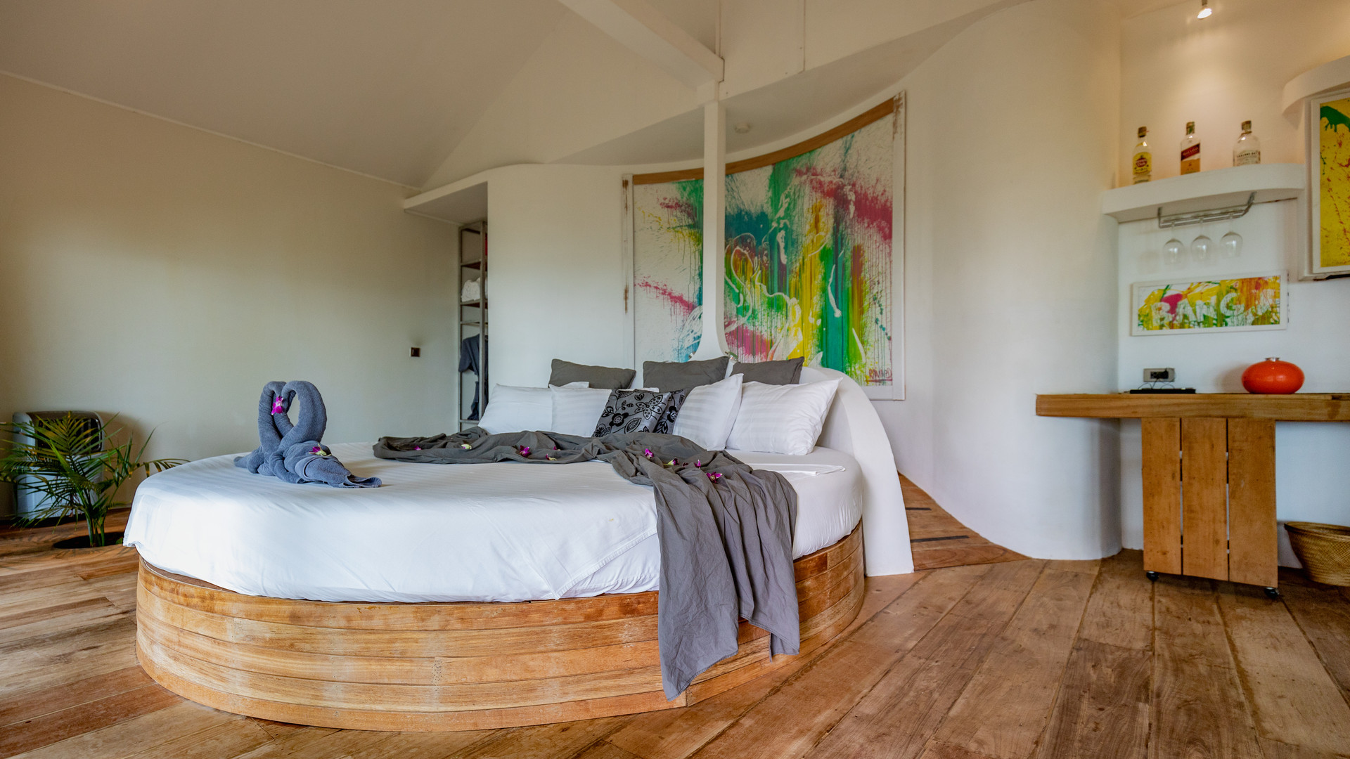 Overall view of the bedroom of the Hedonist Villa