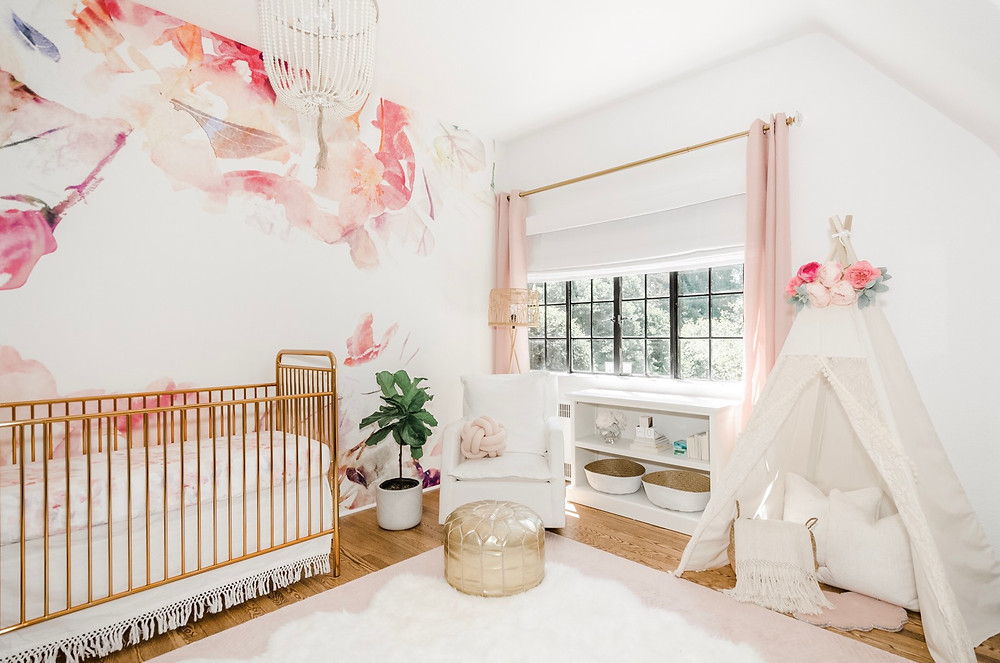 Rye Brook, Westchester, Floral Nursery, Pink and white, Boho