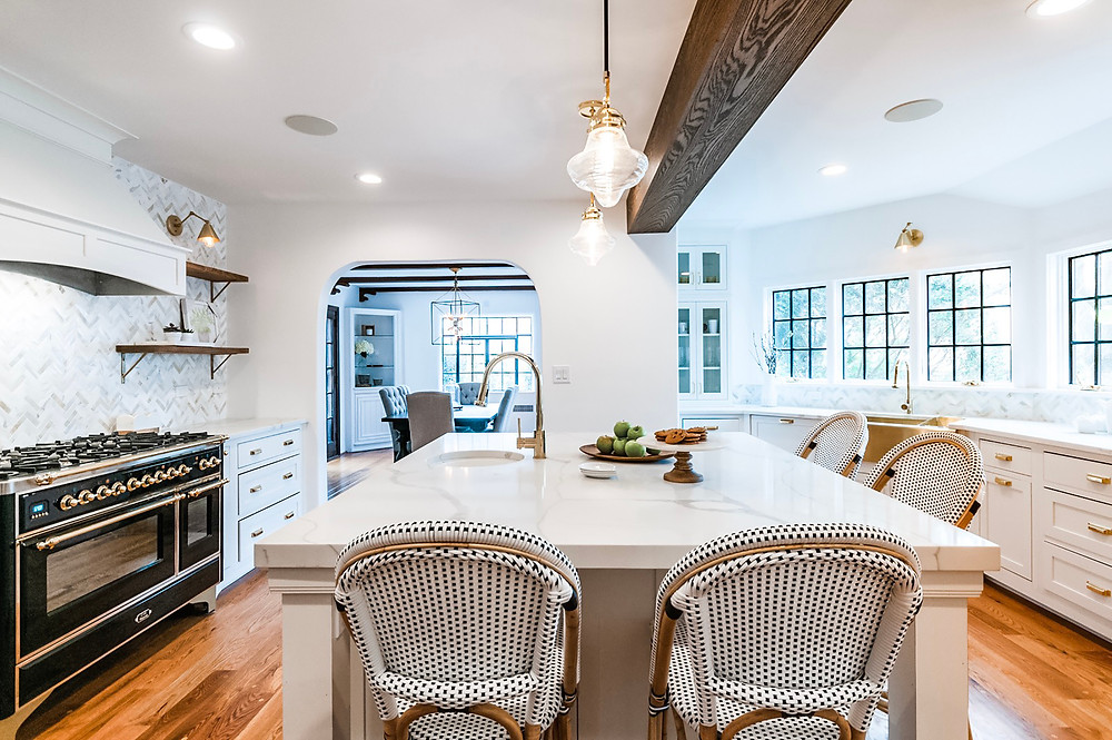 rye modern tudor, family friendly design, kitchen renovation marble counters, white paint