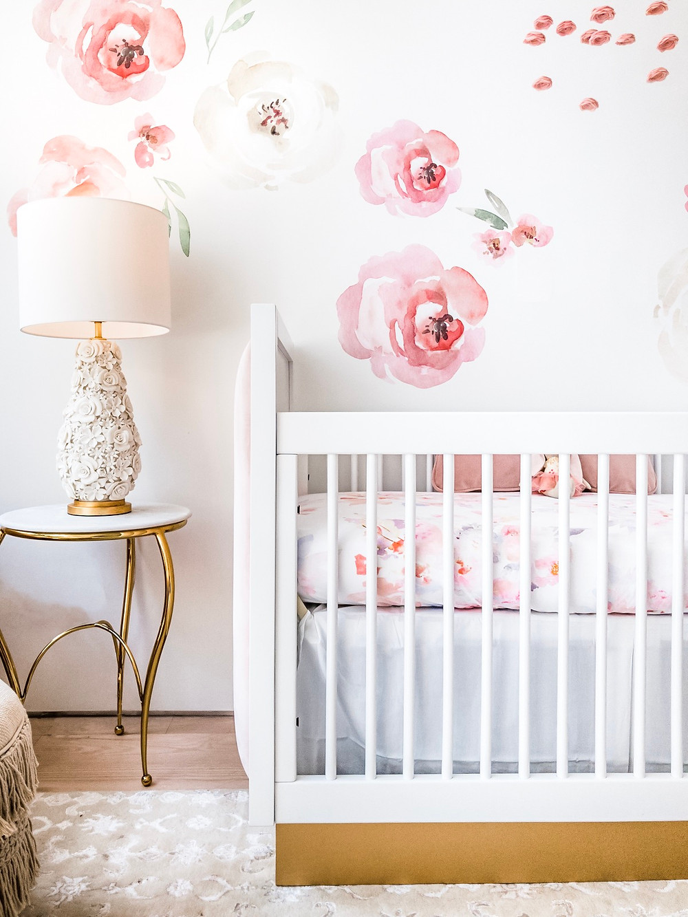 Boho nursery, floral wallpaper, pink rose gold and white, chic, watercolor flowers