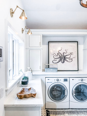 rye modern tudor laundry room, contemporary lighting, marble counters, family friendly design