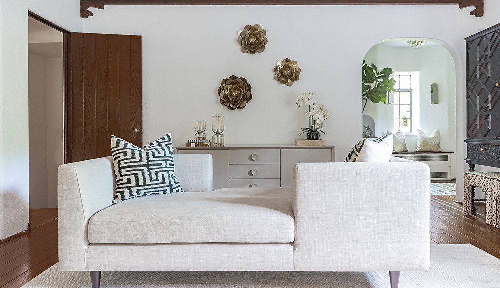 Curated Nest Interiors Modern Tudor house living room, chaise lounge and sideboard