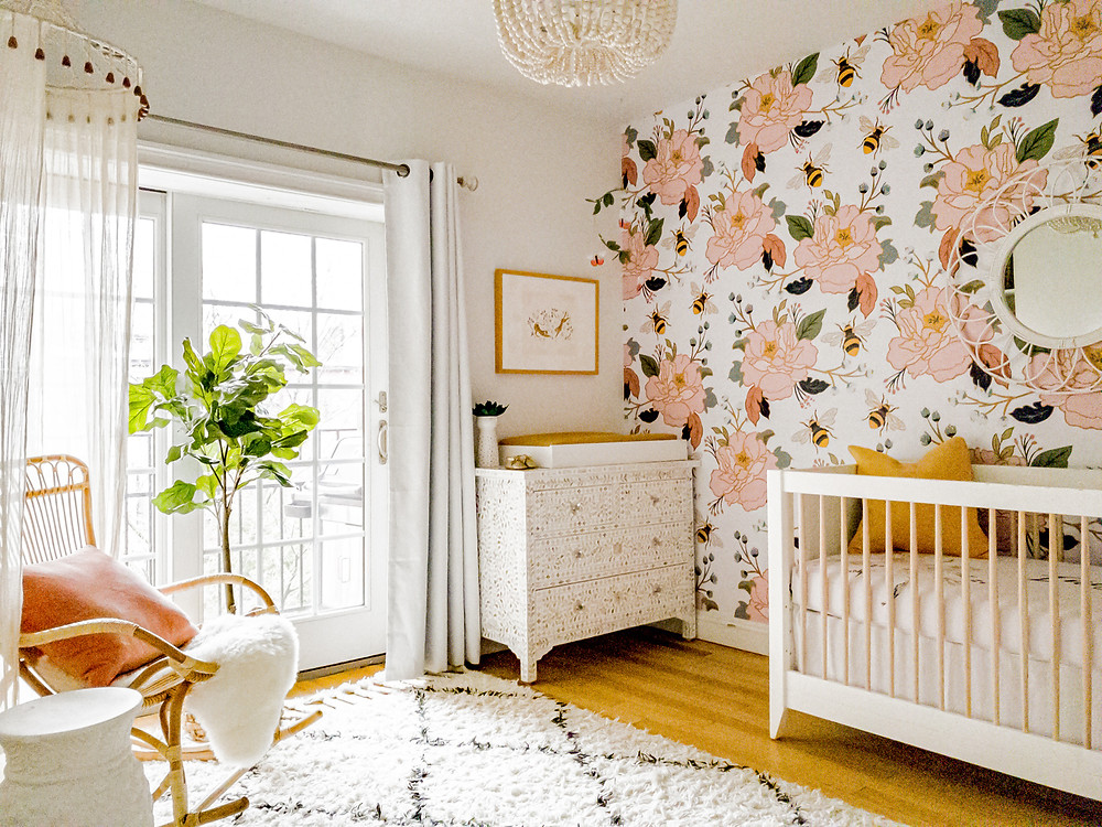 Brooklyn, New York, Floral Nursery, Mustard pink and white, Boho