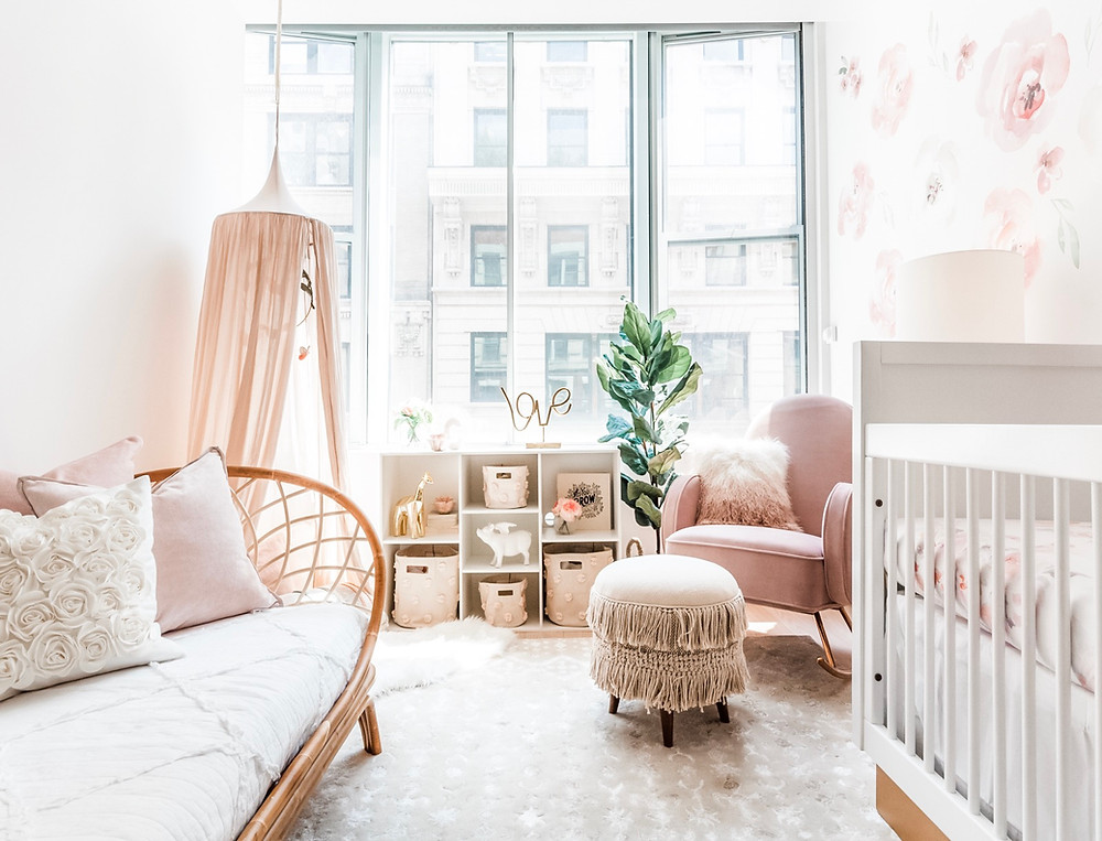 Girls blush floral nursery boho chic style by Curated Nest interiors
