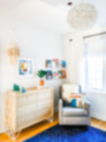 Curated Nest Interiors | Jonah's Eclectic Kids Room | Rocking chair and dresser | Brooklyn, NY