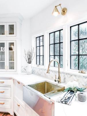 rye modern tudor kitchen renovation, gold sink, white cabinets, family friendly design