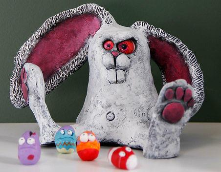 Unique hådlavet påske kanin i ler, gave ideer til alle
