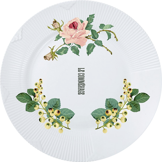 An Illustrated plate part of Le Commerage Hotel branding by Useless Treasures