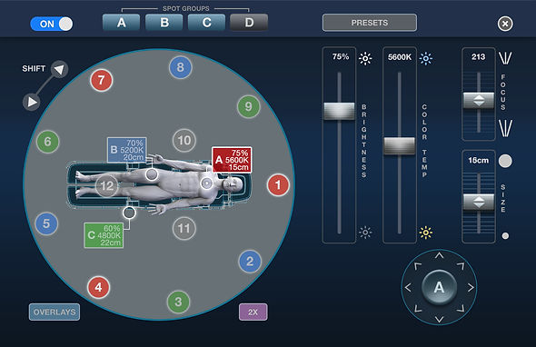 Medical device user interface; surgical lighting