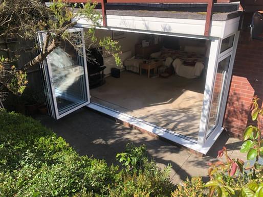 Aluminium bi-fold door bay