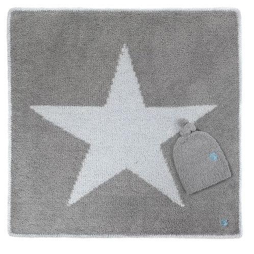 KASHWERE STAR BABY BLANKET W/CAP STONE/ICEBLUE