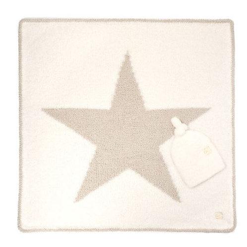 KASHWERE STAR BABY BLANKET W/CAP CREME/MALT