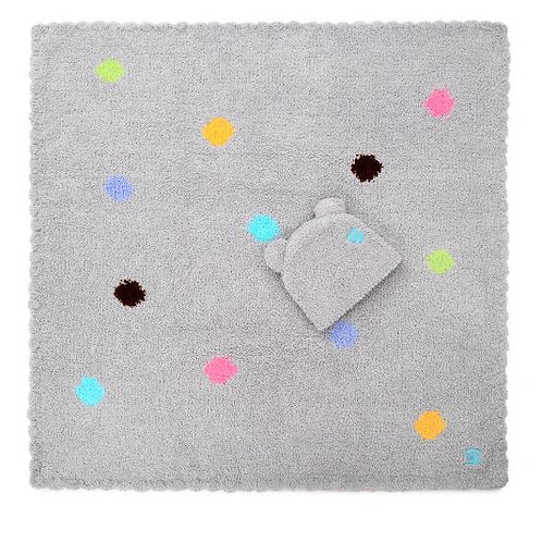 Kashwere Baby Blankets Polka Dot w/ Bear Cap - Stone
