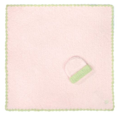 KASHWERE BABY BLANKET W/CAP - PINK WITH GREEN TRIM
