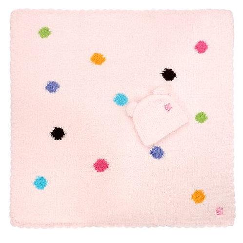 Kashwere Baby Blankets Polka Dot w/ Bear Cap - Pink