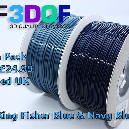 Navy & King Fisher Blue Combo 1.75mm Uk Made 3D Printer Filament