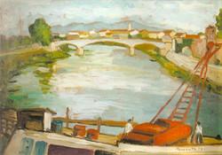 Eugenio Sementa, L'Arno a Pisa, 1957 (olio su tavola, cm 50x70)