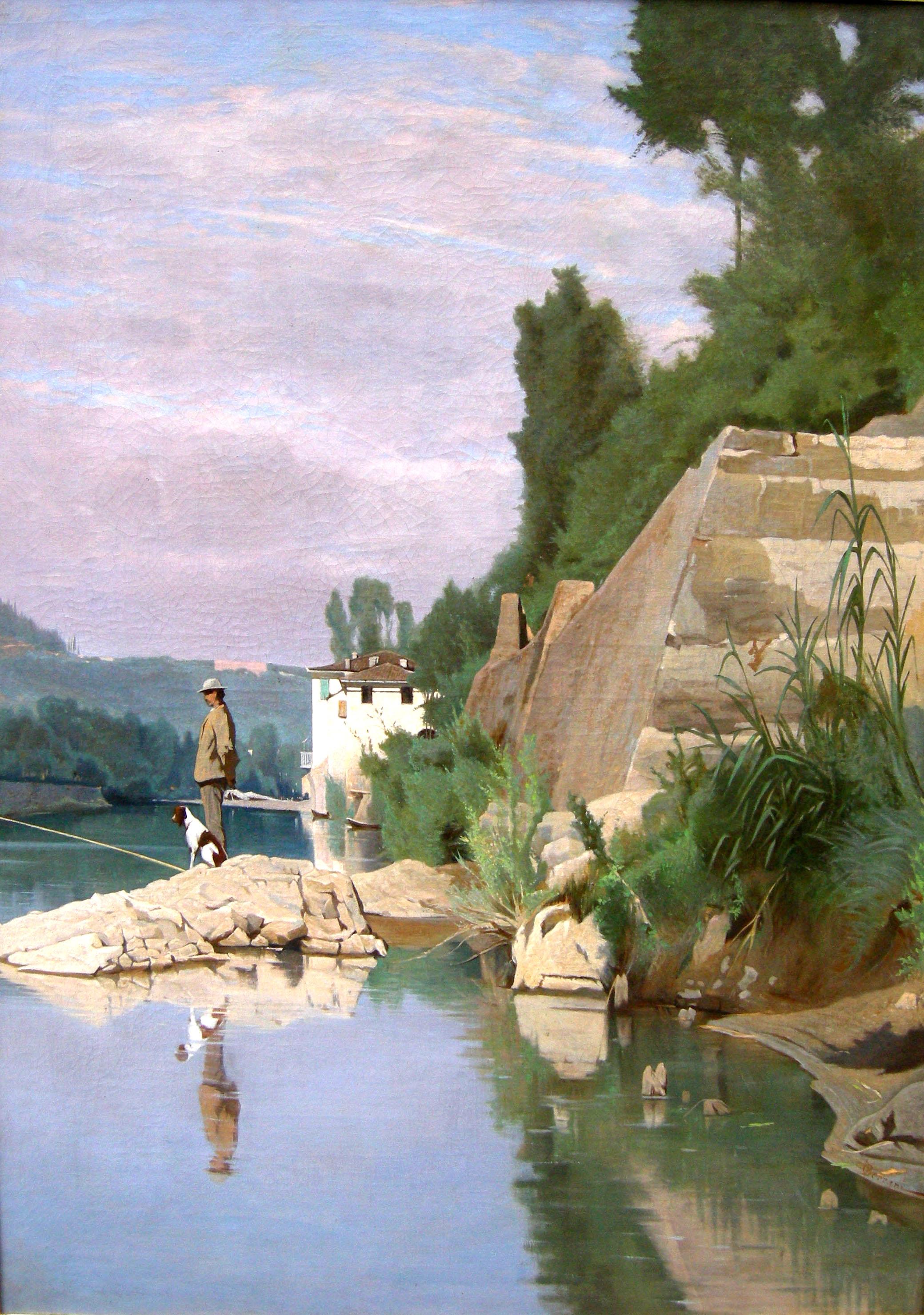 Pescatore sull'Arno a Casaccia
