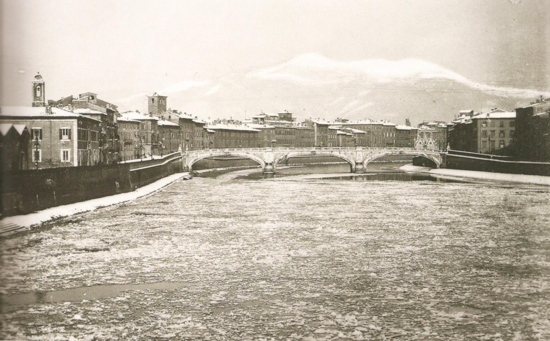 Pisa, L'Arno coperto dal ghiaccio, 12-14 febbraio 1929