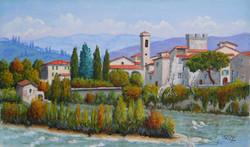 Paesaggio sull'Arno a Subbiano