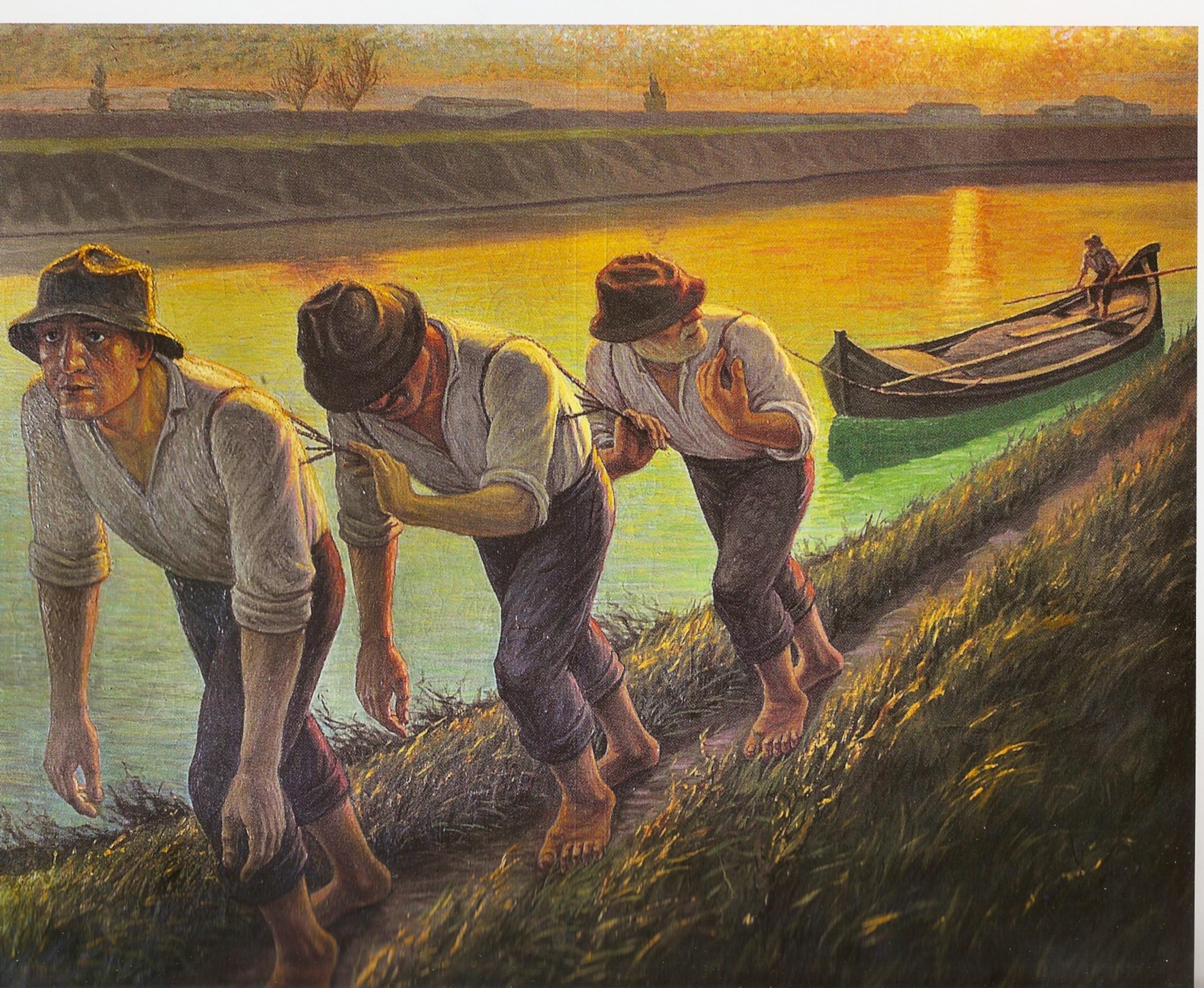 Alfredo Conti, Renaioli sull'Arno (olio su tela,cm 118 x 148)
