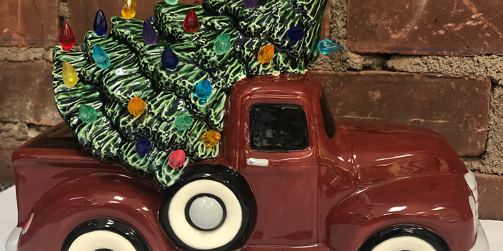 Vintage Lighted Truck with Tree