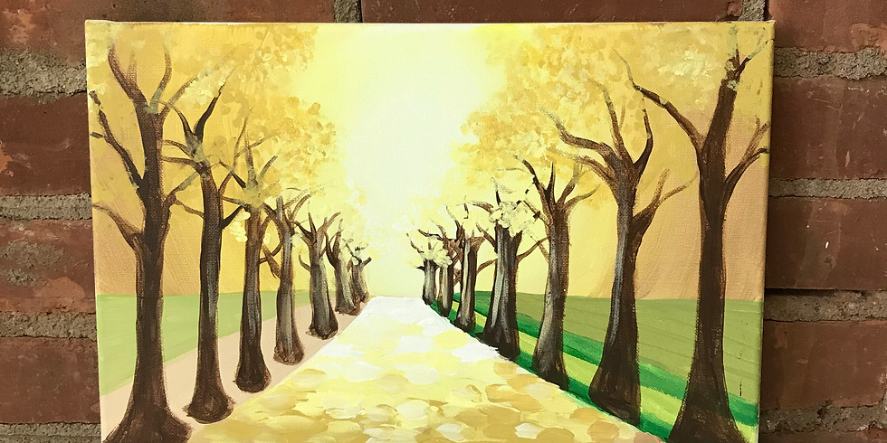 Canvas Cork & Color - Tree Lined Sunset