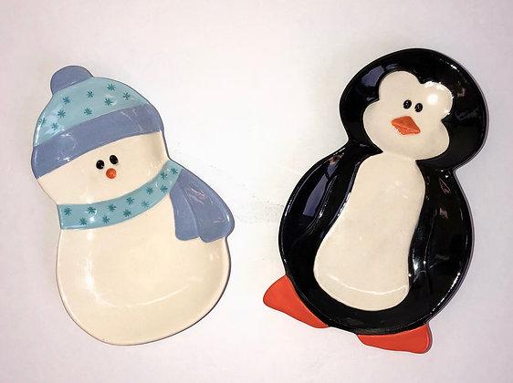Snowman or Penguin Snack Plate Kit