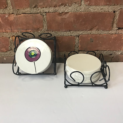 4 Piece Round Coaster Set with Holder