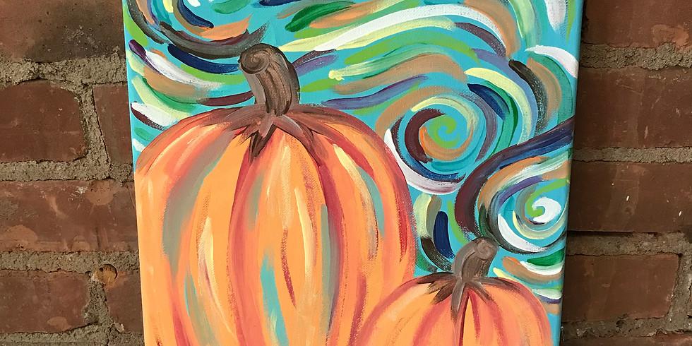 Canvas Cork & Color - Swirling Pumpkins
