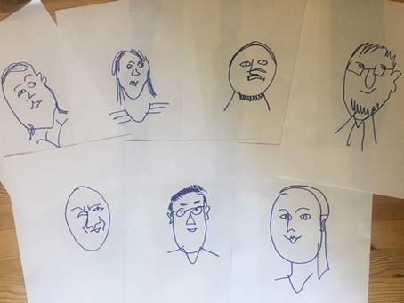 Rita porträtt utan att se på pappret