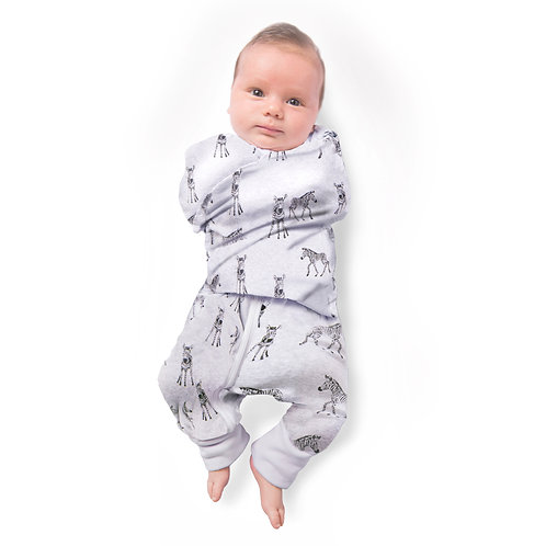 Buy One Get One Free 0.5 TOG Swaddle Suit - Sketched Zebra