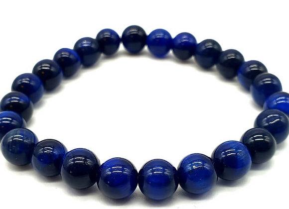 Oeil de Tigre Bleu perles 8mm