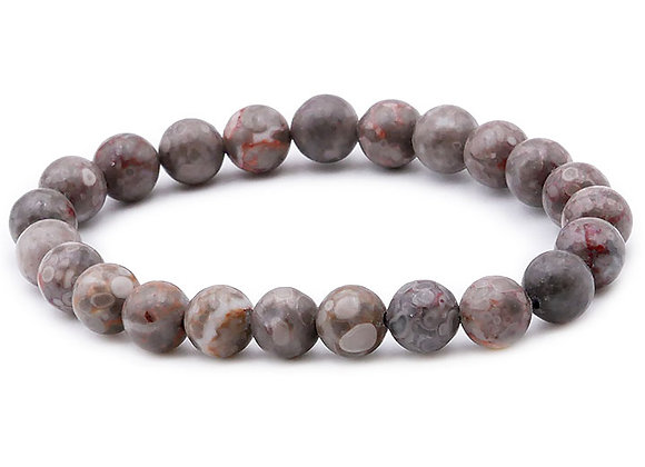Agate Fossile AB Perles 8mm
