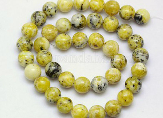 Turquoise Jaune perles 8mm